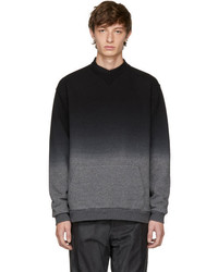 Robert Geller Black And Grey Dip Dyed Sweatshirt