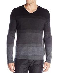 Calvin Klein Merino Acrylic Simple Ombre Striped V Neck Sweater