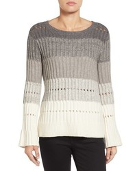 Vince Camuto Ombre Stripe Pointelle Sweater