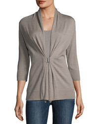Neiman Marcus Cashmere Collection 34 Sleeve Crystal Buckle Cashmere Cardigan