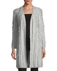 Neiman Marcus Cashmere Open Front Fringed Cardigan Sweater