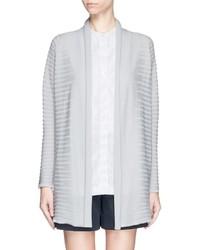 Armani Collezioni Cloqu Stripe Virgin Wool Drape Cardigan