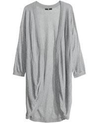 H&M Fine Knit Cardigan Graypatterned Ladies