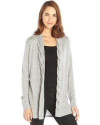 Magaschoni Grey Cashmere Cable Knit Placket Open Cardigan