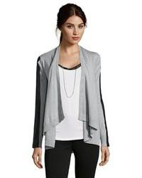 Jamison Grey Knit Drape Front Faux Leather Sleeve Trim Cardigan