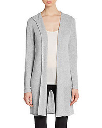 Hooded Open Front Cashmere Cardigan