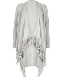 River Island Light Grey Tassel Trim Cardigan