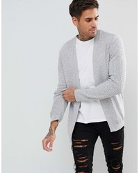 Asos Lightweight Cable Cardigan In Pale Gray