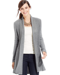 NY Collection Long Sleeve Pointelle Cardigan