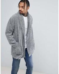Asos Longline Cardigan In Fleece With Long Sleeves
