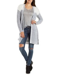 Charlotte Russe Marled Open Front Color Block Cardigan With Belt