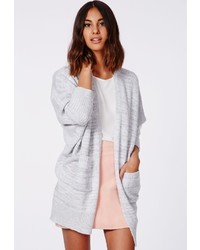Missguided Valene Oversize Batwing Slouch Cardigan Light Grey
