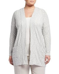 Montagne Plus Open Front Pocket Cardigan Gray Plus Size