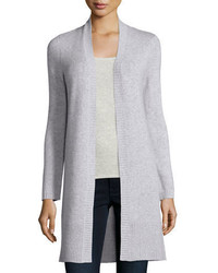 Neiman Marcus Cashmere Collection Long Rib Trimmed Open Front Cashmere Cardigan