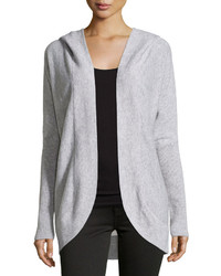 Neiman Marcus Cashmere Hooded Cocoon Cardigan Heather Gray