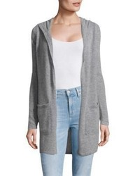 Open Front Cashmere Hooded Cardigan