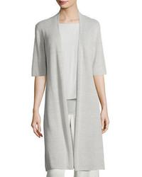 Eileen Fisher Ribbed Knee Length Cardigan Plus Size