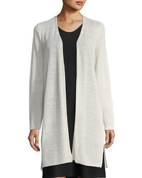 Eileen Fisher Sheer Long Cardigan W Side Slits Petite
