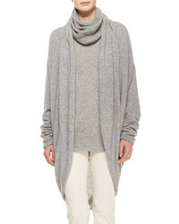 The Row Draped Front Cozy Cashmere Silk Cardigan Light Gray Melange