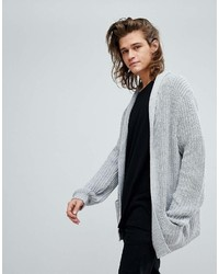 Asos Ultimate Knitted Cardigan In Pale Gray