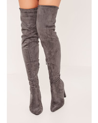 Missguided Grey Over The Knee Heeled Boots