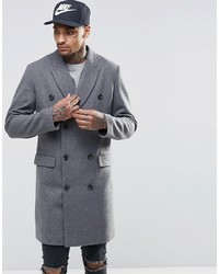 Asos Brand Wool Mix Double Breasted Overcoat In Light Gray Marl