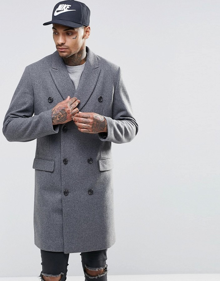 2f10fdfcaa16 ... Asos Brand Wool Mix Double Breasted Overcoat In Light Gray Marl ...