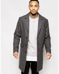 Asos Brand Wool Overcoat In Dark Gray