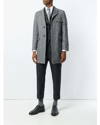 Thom Browne Engineered Stripe Unconstructed Donegal Wool Classic Chesterfield Overcoat