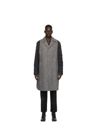 Maison Margiela Grey Herringbone Wool Coat