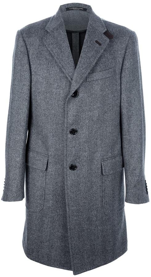 Corneliani Herringbone Long Coat
