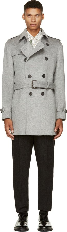 Burberry London Gray Wool Cashmere Trench Coat