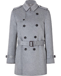 Burberry London Wool Cashmere Short Britton Trench In Pale Grey Melange