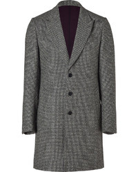 Paul Smith Ps By Grey Micro Check Wool Overcoat