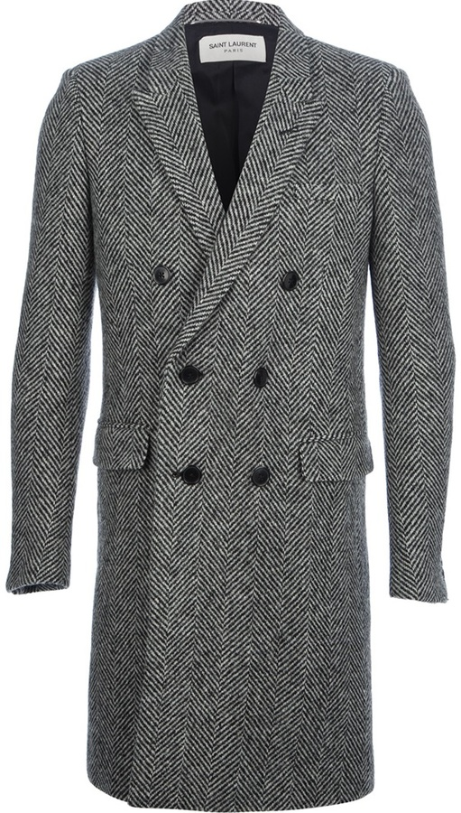 grey overcoat saint laurent double breasted herringbone coat where to buy how to wear. Black Bedroom Furniture Sets. Home Design Ideas