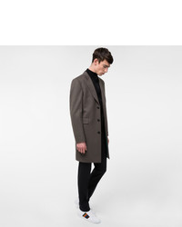 Paul Smith Slate Grey Wool And Cashmere Blend Peak Lapel Epsom Coat