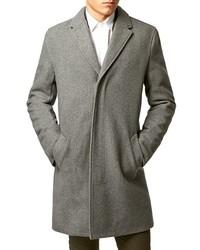 Topman Light Grey Wool Blend Zip Topcoat