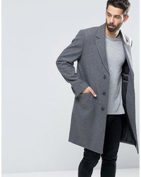 Asos Wool Mix Overcoat In Light Gray Marl