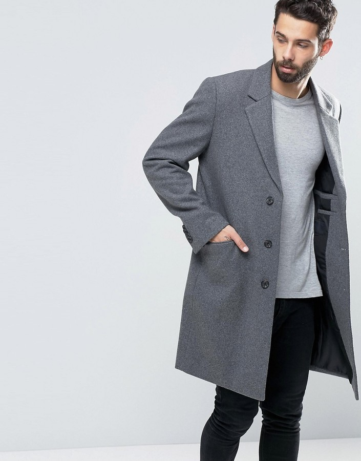 e56b06707ab1 Asos Wool Mix Overcoat In Light Gray Marl, $76 | Asos | Lookastic.com