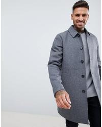 ASOS DESIGN Wool Mix Trench Coat In Light Grey