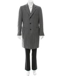 Saint Laurent Yves Patterned Wool Overcoat