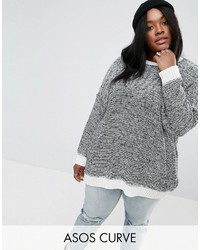 Asos Curve Curve Oversized Sweater In Twisted Yarn
