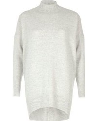 River Island Grey Knit Oversized Turtle Neck Sweater