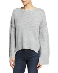 Elizabeth and James Harris Oversized Wool Blend Sweater Heather Gray