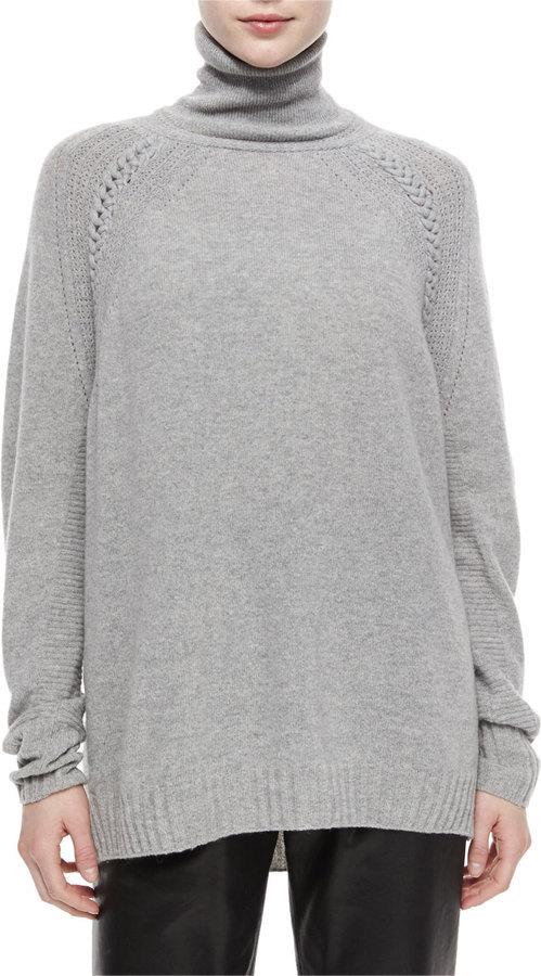 Belstaff Turtleneck Oversized Tunic Sweater Gray Melange | Where ...