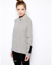 Vila Oversize Knit With Leather Look Detail Gray
