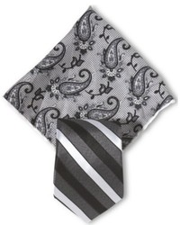Excalibur michelsons of london black and grey stripe tie pocket square set medium 717430