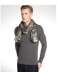 Etro Black And Ivory Cashmere Silk Blend Paisley Pattern Scarf