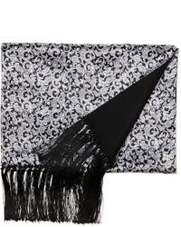 Stefano Ricci Paisley Print Silk Scarf Blackwhite