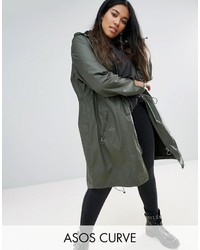 Asos Curve Curve Waxed Parka Rainwear With Zip Detail